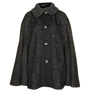 knitted boucle cape coat